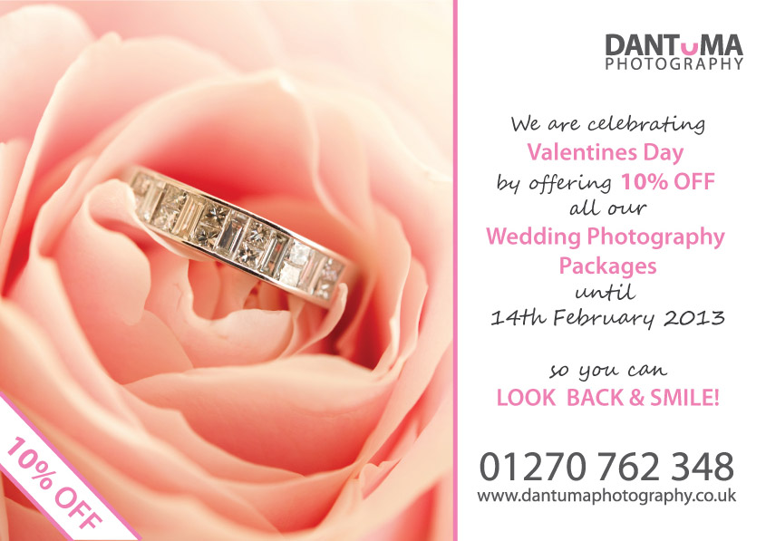 Just because it's Valentines Day! we are offering 10% off our Wedding Photography
